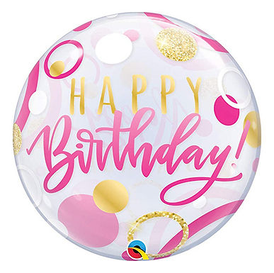 Birthday Pink and Gold Dots Bubble Balloon