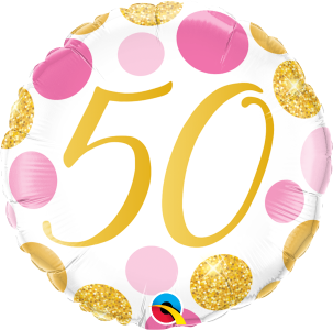 "50 Pink & Gold Dots 18"" Foil Balloon"
