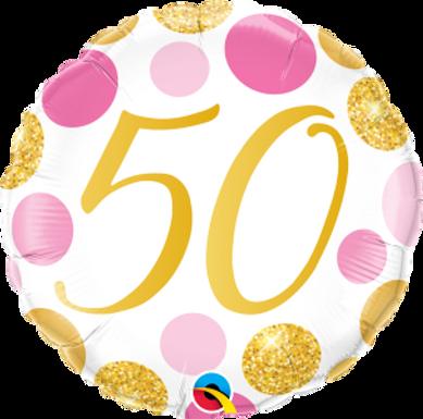 "50 Pink & Gold Dots 18"" Foil Balloon"