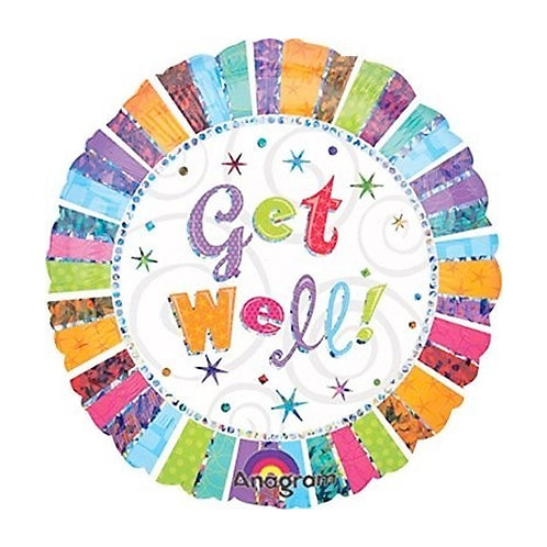 """Multi Coloured Get Well 18"""" Foil Balloon"""