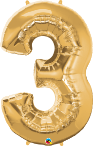 "Gold 34"" Foil Number 3 Balloon"