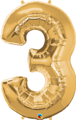 """Gold 34"""" Foil Number 3 Balloon Helium Filled"""