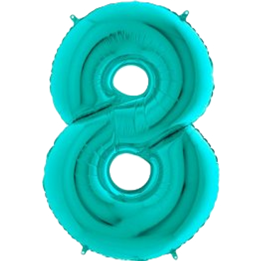"""Tiffany Blue 34"""" Foil Number 8 Balloon Helium Filled"""