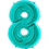 """Thumbnail: Tiffany Blue 34"""" Foil Number 8 Balloon Helium Filled"""