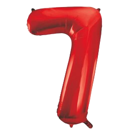 "Red 34"" Foil Number 7 Balloon Helium Filled"