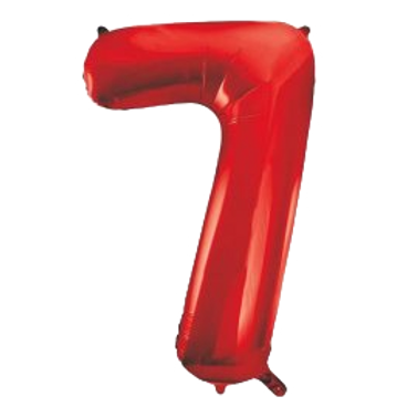 """Red 34"""" Foil Number 7 Balloon Helium Filled"""