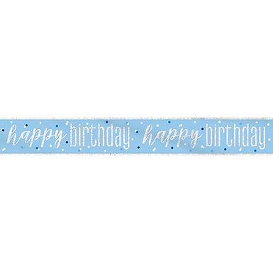 Blue & Silver Happy Birthday Banner