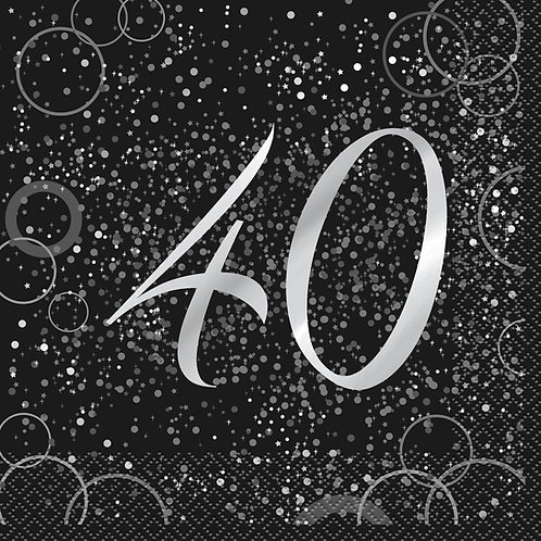 Black & Silver Age 40 Napkins