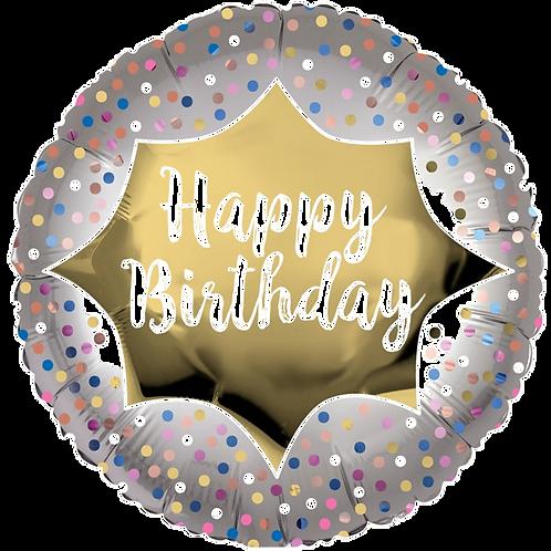 """Gold Burst Satin Birthday 18"""" Foil Balloon"""