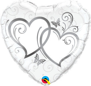 "Silver Entwined Hearts 18"" Foil Balloon"