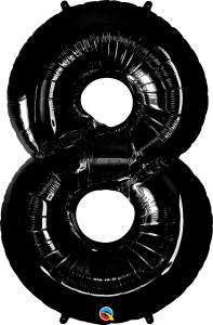"Black 34"" Foil Number 8 Balloon Helium Filled"
