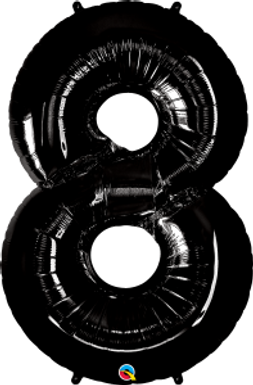 """Black 34"""" Foil Number 8 Balloon Helium Filled"""