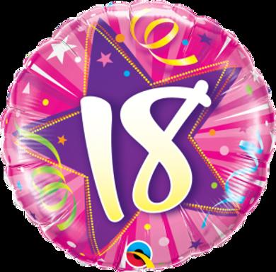 "18 Shining Star Hot Pink 18"" Foil Balloon"
