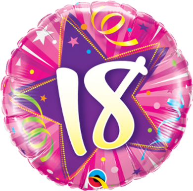"18 Shining Star Hot Pink 18"" Foil Balloon"