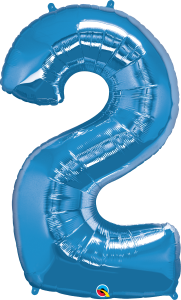 """Blue 34"""" Foil Number 2 Balloon Helium Filled"""