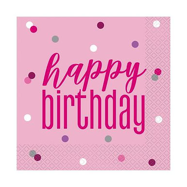 Glitz Pink Birthday Napkins