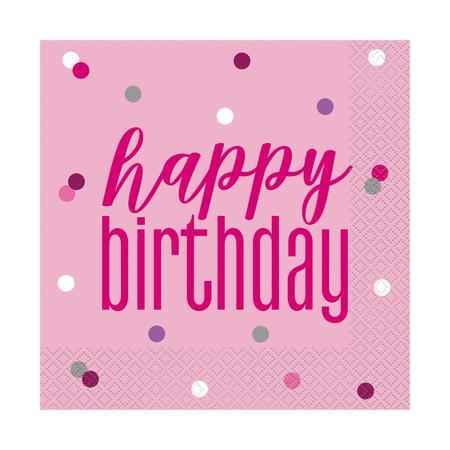 Glitz Pink Birthday Napkins