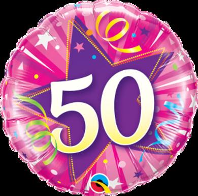 "50 Shining Star Hot Pink 18"" Foil Balloon"