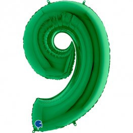 """Green 40"""" Foil Number 9 Balloon Helium Filled"""
