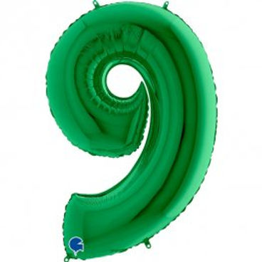 "Green 40"" Foil Number 9 Balloon Helium Filled"