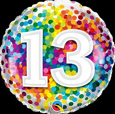 "13 Rainbow Confetti 18"" Foil Balloon"