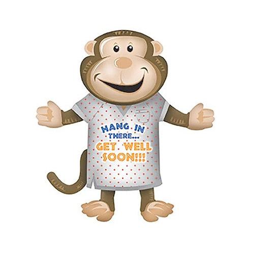 Get Well Soon Monkey Foil Supershape Balloon
