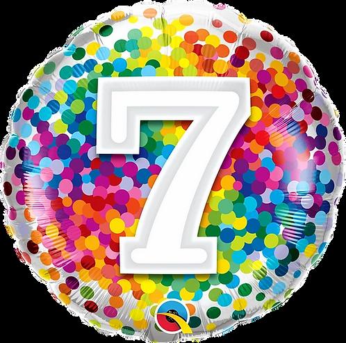 "7 Rainbow Confetti 18"" Foil Balloon"