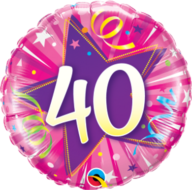 "40 Shining Star Hot Pink 18"" Foil Balloon"