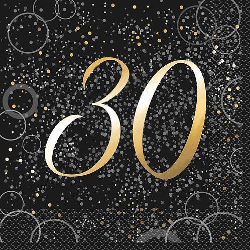 Black & Gold Age 30 Napkins