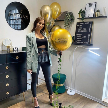 Custom printed J Megan Makeup orb balloon
