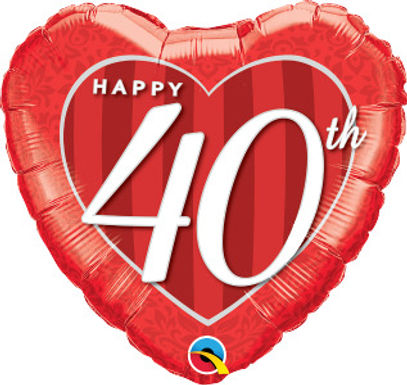 "Happy 40th Damask 18"" Foil Balloon"