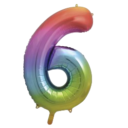 "Rainbow 34"" Foil Number 6 Balloon Helium Filled"