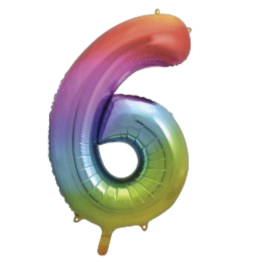 """Rainbow 34"""" Foil Number 6 Balloon Helium Filled"""
