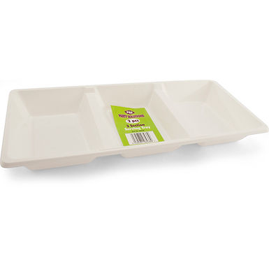 White Plastic Serving Tray 3 Compartments