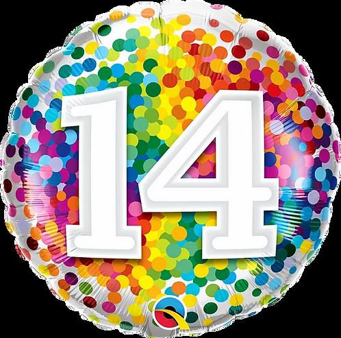 "14 Rainbow Confetti 18"" Foil Balloon"