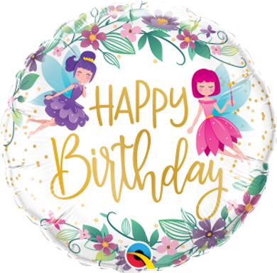 "Birthday Wild Flower Fairies 18"" Foil Balloon"