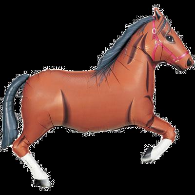 """Dark Brown Horse 43"""" Foil Balloon"""