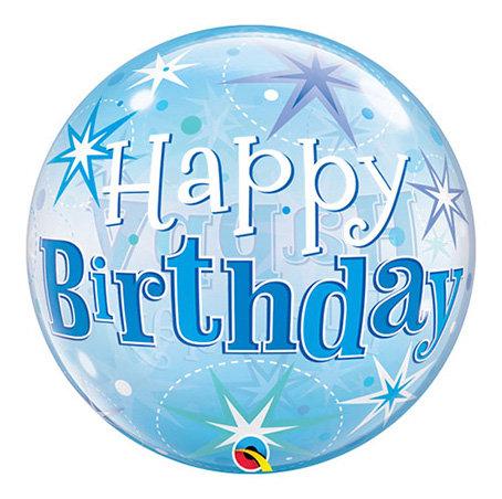 Happy Birthday Blue Sparkle Bubble Balloon