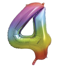 "Rainbow 34"" Foil Number 4 Balloon"