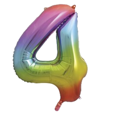 """Rainbow 34"""" Foil Number 4 Balloon Helium FIlled"""
