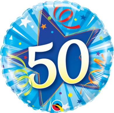 "50 Shining Star Bright Blue 18"" Foil Balloon"