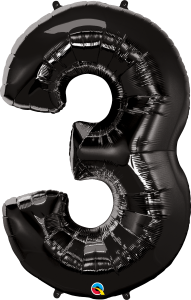 "Black 34"" Number 3 Balloon"