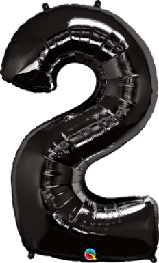 """Black 34"""" Foil Number 2 Balloon Helium Filled"""