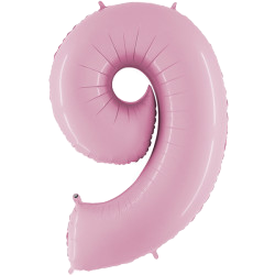 """Light Pink 40"""" Foil Number 9 Balloon Helium Filled"""