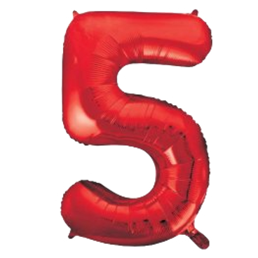"""Red 34"""" Foil Number 5 Balloon Helium Filled"""