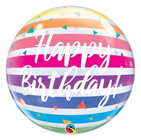 Birthday Bright Rainbow Stripes Bubble Balloon