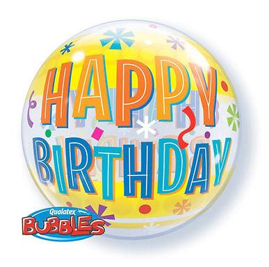 Happy Birthday Fun and Yellow Bands Bubble Balloon