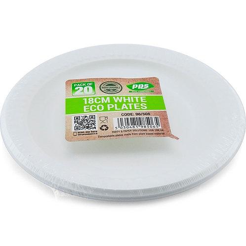 18cm Bio Degradable White Plates