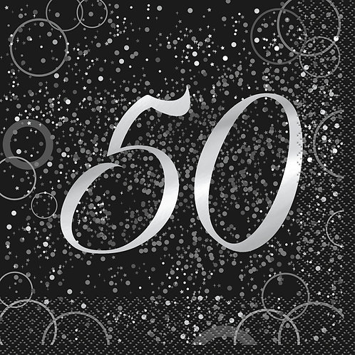 Black & Silver Age 50 Napkins