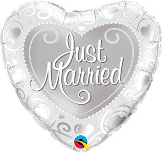 "Just Married Hearts Silver 18"" Foil Balloon"